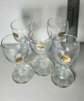 5 CLAUDIA Cordial Crystal Faceted Ball Stem Glasses Made in Czechoslovakia 50ml