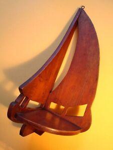 Vintage SAILBOAT CORNER SHELF for Home or Boat Solid Wood