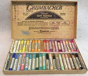 Vintage Grumbacher Set No.34 40 SOFT PASTELS In Original Box Art Supplies