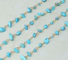 Turquoise Rosary Chain - Gold Plated Wire Wrapped Rosary Chain.  6mm - 12mm Chip