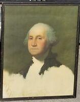 1800s US President GEORGE WASHINGTON Portrait Print Athenaeum G. STUART vtg art