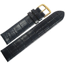 19mm Mens Fluco Kroco Blue Crocodile-Grain Leather GOLD Buckle Watch Band Strap