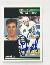 91/92 Pinnacle Autographed Hockey Card Pat Verbeek Hartford Whalers