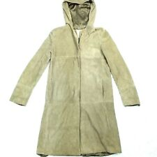 'S Max Mara Soft Leather Hooded Coat Jacket US Size 10 Beige Trench