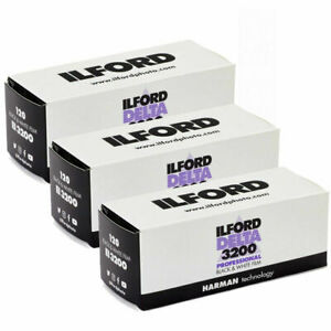 3x Ilford Delta 3200 Professional 120 Black & White Roll Film