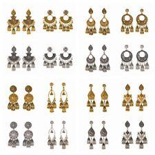 Vintage Gold Silver Ethnic Bali Jhumka Jhumki Brocade Gypsy Dangle Earrings