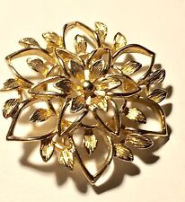 Vintage Gold Tone Floral Brooch Signed Sarah Coventry Delicate Leaves Pin