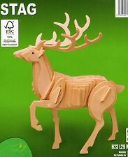 STAG WOODCRAFT CONSTRUCTION 3D MODEL ANIMAL PUZZLE KIT, BRAND NEW