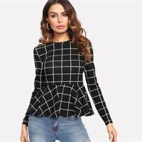 Blouse Black Plaid Grid Peplum Ruffle Round Neck Long Sleeve Fall Top Elegant