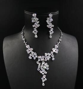 Wedding Bridal Gift Zirconia Platinum Plated Diamond-like Necklace Earrings Set