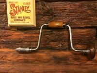 "Vintage Stanley 966 10"" Hand Brace  W/4 Bits    Great Pre-Owned  Condition"
