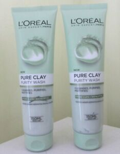 2 X L'OREAL PURE CLAY PURITY WASH WITH EUCALYPTUS 150ML