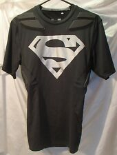 Superman Padded Under Armour Black Compression Shirt Mens Size Large
