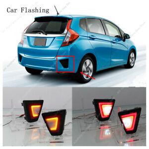 For Honda JAZZ / FIT 2014-2017  LED Rear Bumper Lights Fog Lamps Reflector Refit