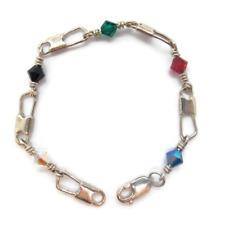 ACTS Bracelet Fishers of Men Sterling Silver REGULAR LINK, Crystal Beads!!