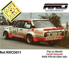 DECAL/CALCA 1/43; Fiat 131 Abarth; Cardin-Gancedo; Rally Villa de Gijon 1982