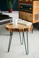 Mid Century Coffee Table, Rustic Wood Slab Coffee Table, Modern Hairpin Legs End