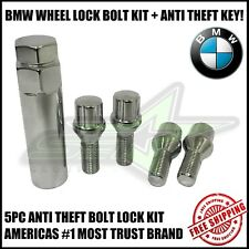 4pc 12x1.5 BMW CHROME STEEL WHEEL LUG BOLT LOCK SET WITH KEY | M3 M5 335 135