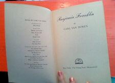 BENJAMIN FRANKLIN By Carl Van Doren - 1938 FIRST EDITION