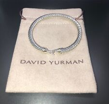 David Yurman Cable Buckle Bracelet With 18k Gold  5mm 925 Sterling Silver SMALL