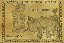 Game Of Thrones Antique Map Poster World Vintage Old Print Wall Art Large Maxi