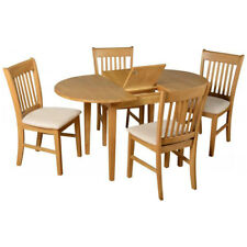 Oak Oval Extending Extendable Dining Table and Chair Set with 4 Suede Seats