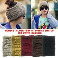 Women Ponytail Hat Beanie Messy Bun Cap Winter Knit Warm Stretch Soft Skull Caps