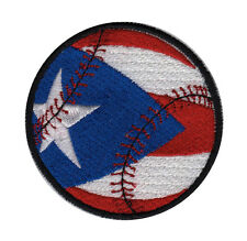 PUERTO RICAN FLAG BASEBALL EMBROIDERED PATCH