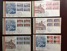 ITALIA - FDC RODIA - 1961 - CENTENARIO UNITA' D'ITALIA - IN QUARTINA SU 6 BUSTE