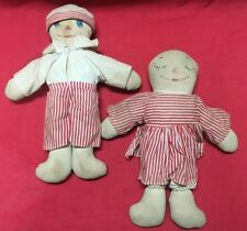 Vintage Rag Dolls Raggedy Ann Andy Style Double Faced Maybe Hand Made Authentic