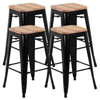 "Set of 4 Black Vintage Bar Stool Industrial Steel Design Wood Top 26"""