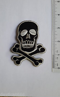 Silver SKULL CROSSBONES Biker Motorcycle Embroidered PATCH Applique  Fuzzy Dude