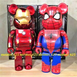 Bearbrick Medicom 2021 Marvel Lottery Prize Ironman & Spiderman 400% Be@rbrick