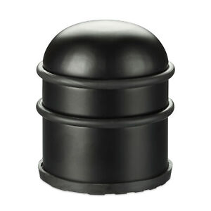 2 x Türstopper, Türpuffer aus Edelstahl & Gummi, Türbremse schwarz, Bodenpuffer
