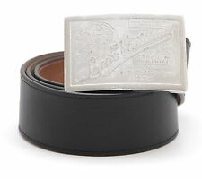 LOUIS VUITTON Belt Men's Black Leather TRAVELLING REQUISITES Silver 90/36