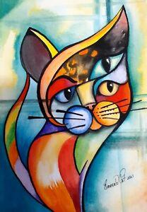 Original cat water colour by Australian artist Emerald Cat
