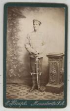 Husar mit Säbel, uralte Fotografie, Meuselwitz, Sachsen-Altenburg, Militär-CDV