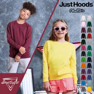 Kids Sweatshirt Boys Girls AWDis Hoods Plain Casual Jumper Pullover Age 3-13