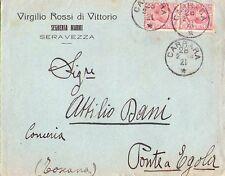 SEGHERIA MARMI VIRGILIO ROSSI - SERAVEZZA - INTERESSANTE BUSTA DA CARRARA - 1921