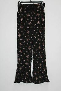 FREE PEOPLE WOMEN FLORAL PANTS, BLACK, SIZE SMALL - NEW WITHOUT TAG 12847