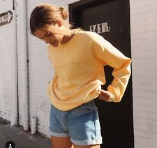 Brandy Melville oversize yellow crewneck erica honey embroidery sweatshirt OS