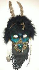 "Hand Made American Indian Art Mask Deer Buffalo Pheasant 14"" L x 6 1/2"" W"