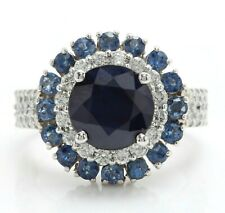 3.30 Ct Natural Blue Sapphire and Diamonds in 14K Solid White Gold Women Ring