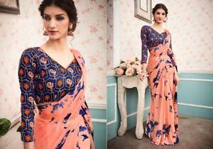 Indian Pakistani Bollywood New DESIGN Georgette Printed Sari Embroidery BlouseMA