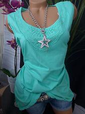Sheego Bluse Shirt Gr. 40 - 52 Mint mit schöner Spitze (061) NEU