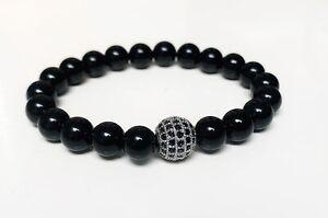 Protection Anxiety Stress Relief Black Obsidian Charm Bead Bracelet Calm Chakra