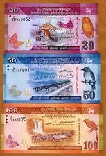 SET, Sri Lanka, 20;50;100 Rupees, 2010-2015  P-123-124-125 UNC > Colorful
