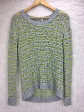 Willow & Clay Yellow Gray Crew Neck Knit Sweater Crochet Long Sleeve S Small