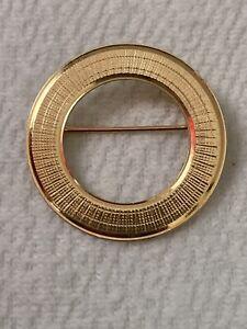 ESTATE 14K YELLOW GOLD CIRCLE BROOCH PIN 20mm 2.67 Grams