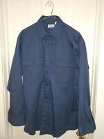 Vintage FIELDMASTER Sears Long Sleeve  Twill Shirt Size Large Navy